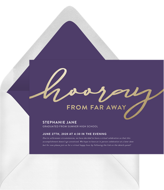 """""""Hooray from far away"""" online graduation invitations for a virtual party"""