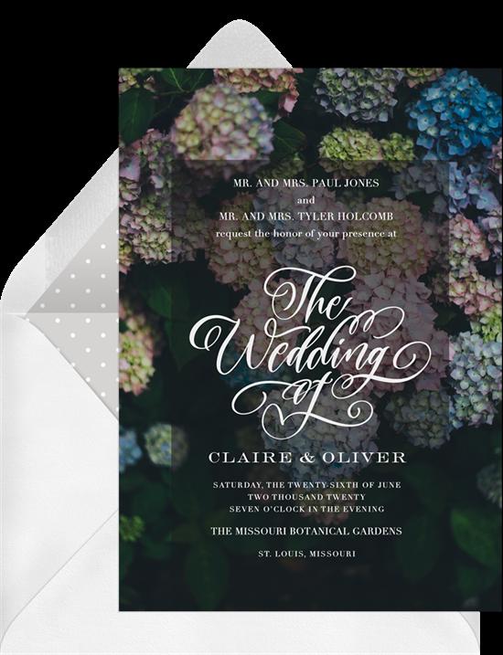 A formal invitation featuring hydrangeas, a dark background, and elegant script