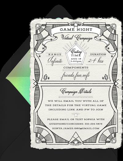 Virtual game night: Game night virtual campaign invitation