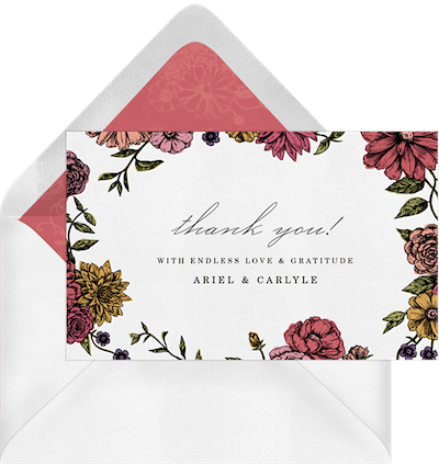 Flowered Borders Thank You Card