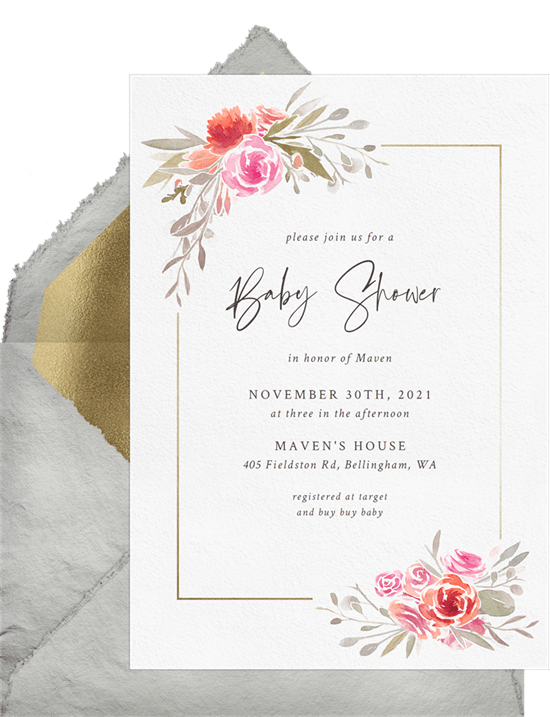 baby shower themes: Watercolor Floral Border Invitation by Greenvelope