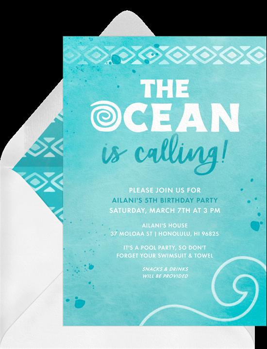 Hawaiian theme party: ocean themed color of invitation