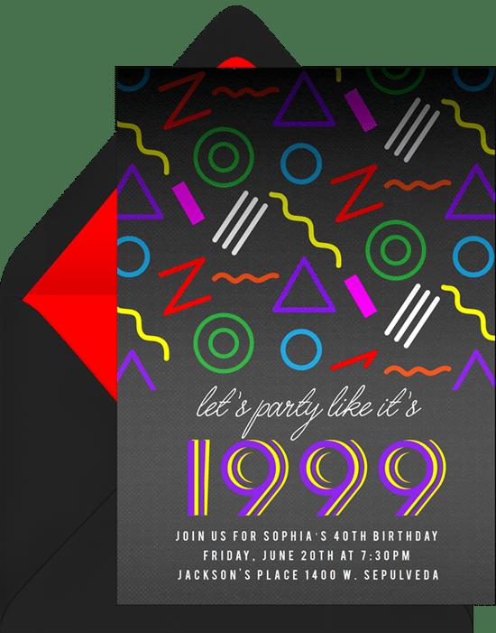 80th birthday invitations: Party Pattern Invitation