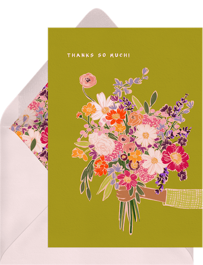 how to write a thank you card: thank you card with flowers
