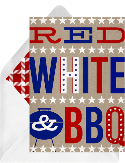Memorial Day decorations: red, white, and BBQ Memorial Day card