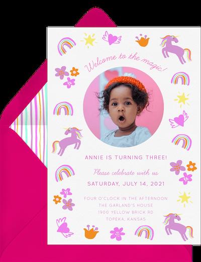 Rainbows and unicorns invitation