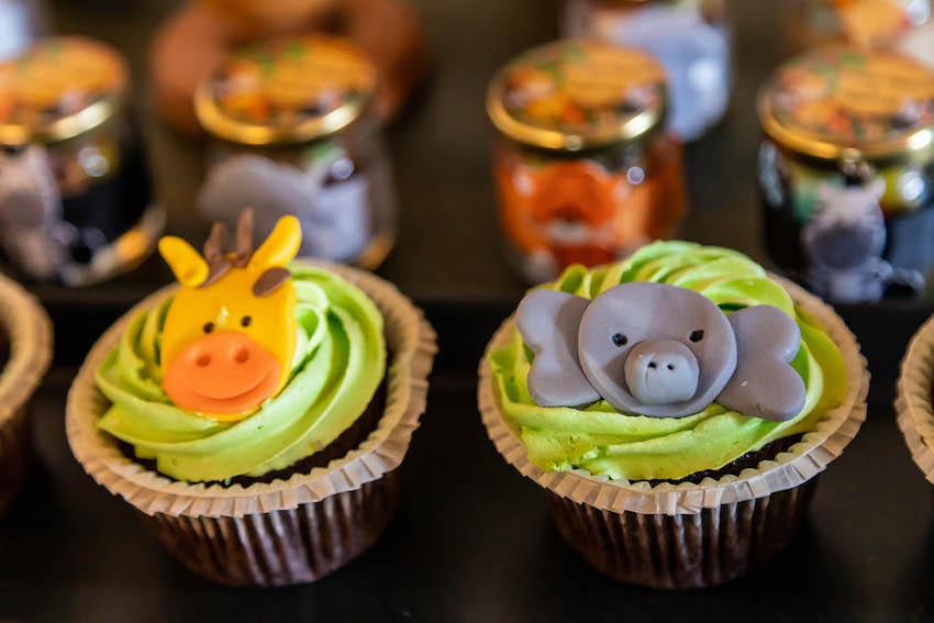 Baby shower ideas for boys: Safari themed animal cupcakes