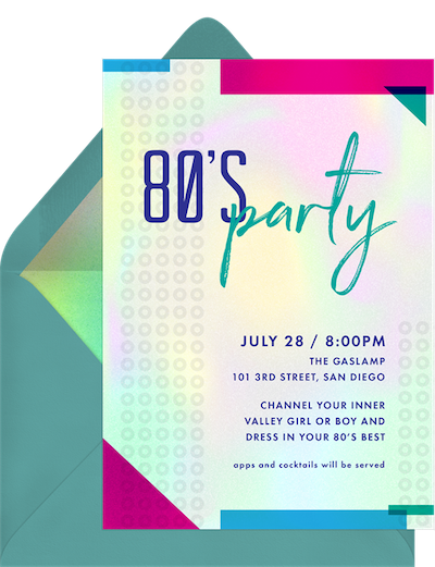 80s theme party: Music themed centerpieces invitation