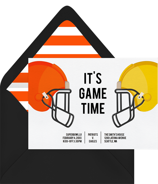 It's Game Time invitation