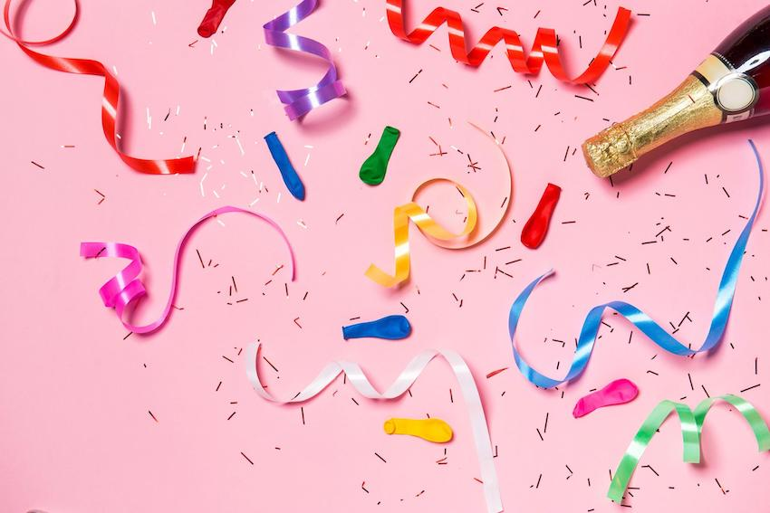 Adult party ideas: Spiral confetti on pink background