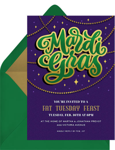 Mardi Gras decorations: Beaded Mardi Gras invitation