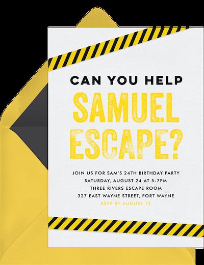 Virtual game night: Escape room invitation
