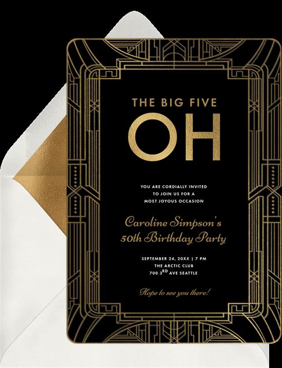 Art Deco Milestone Invitation