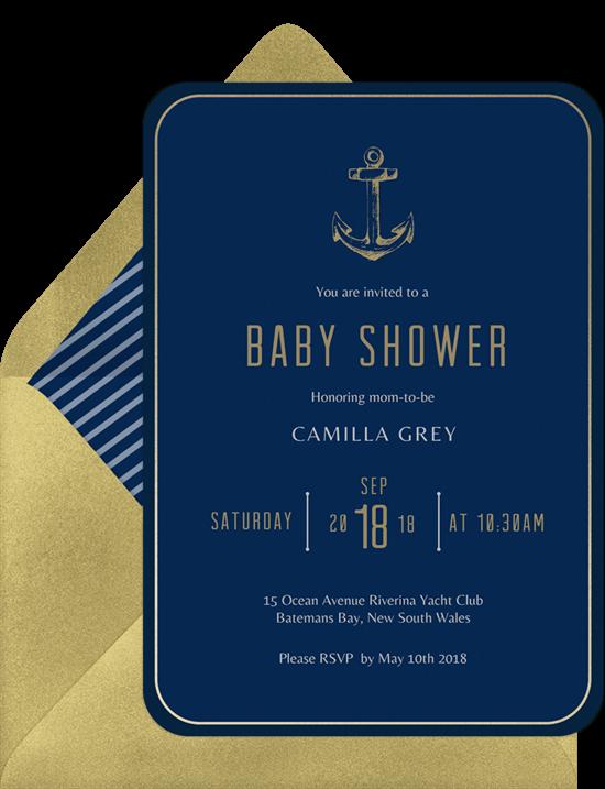 Golden Anchor Invitation by Greenvelope