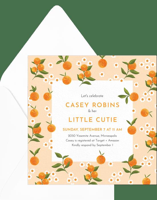 virtual baby shower invitation wording: Little Cutie Invitation from Greenvelope