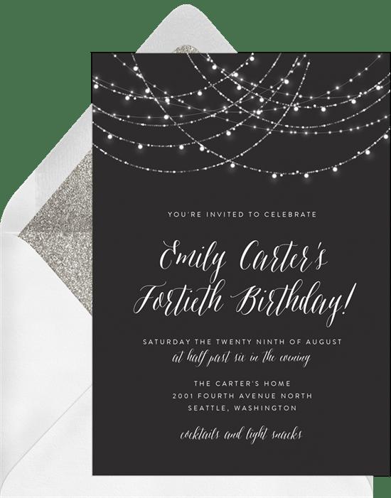 80th birthday invitations: Sparkling Lights String Invitation