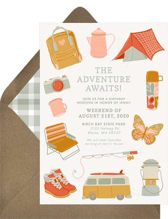 Outdoors Adventure Invitation