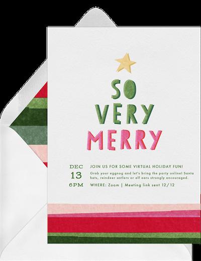Holiday themed virtual game night invitation