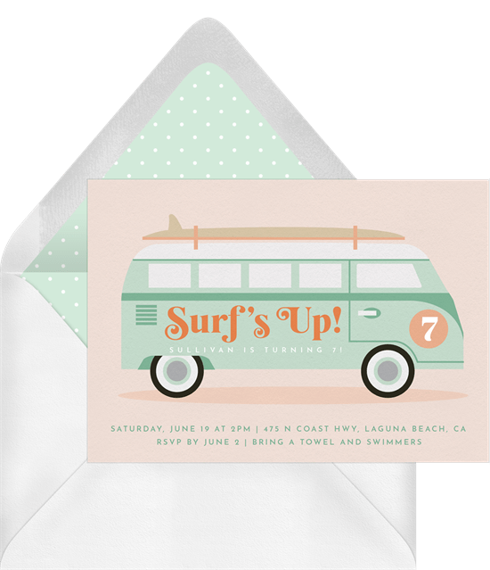 summertime party invitations: Retro VW Bus Invitation by Greenvelope