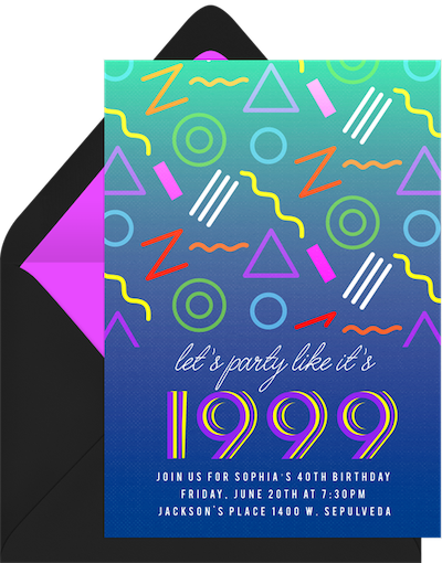 90s slumber party invitation