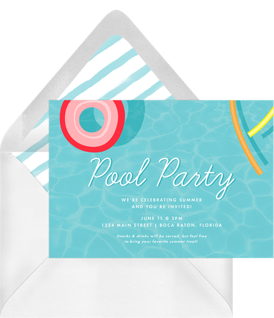 summertime party invitations: Pool Floaties Invitation by Greenvelope