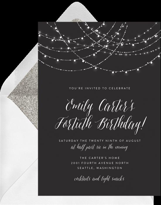 90th birthday invitations: Sparkling String Lights Invitation