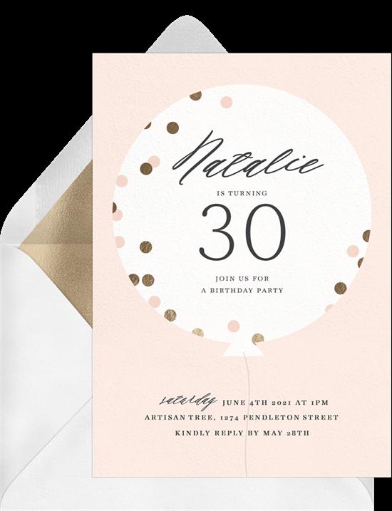 90th birthday invitations: Confetti Balloon Invitation