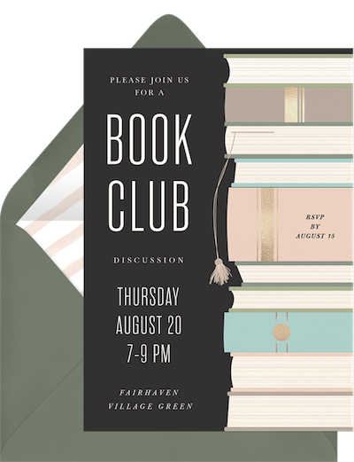 Party theme ideas: Foiled book club invitation