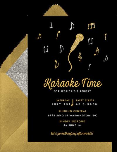 Adult party ideas: Karaoke night invitation