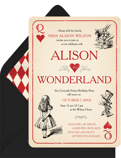 Party theme ideas: Alice in Wonderland Invitation