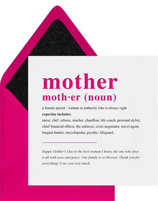 Mother Defined As Card