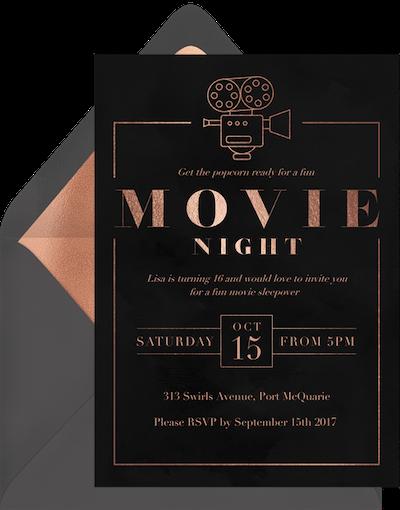 Party theme ideas: Classic movie night invitation