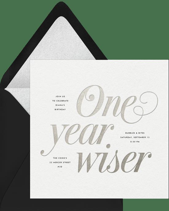 80th birthday invitations: One Year Wiser Invitation