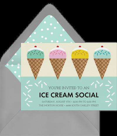 Party theme ideas: Ice cream social invitation