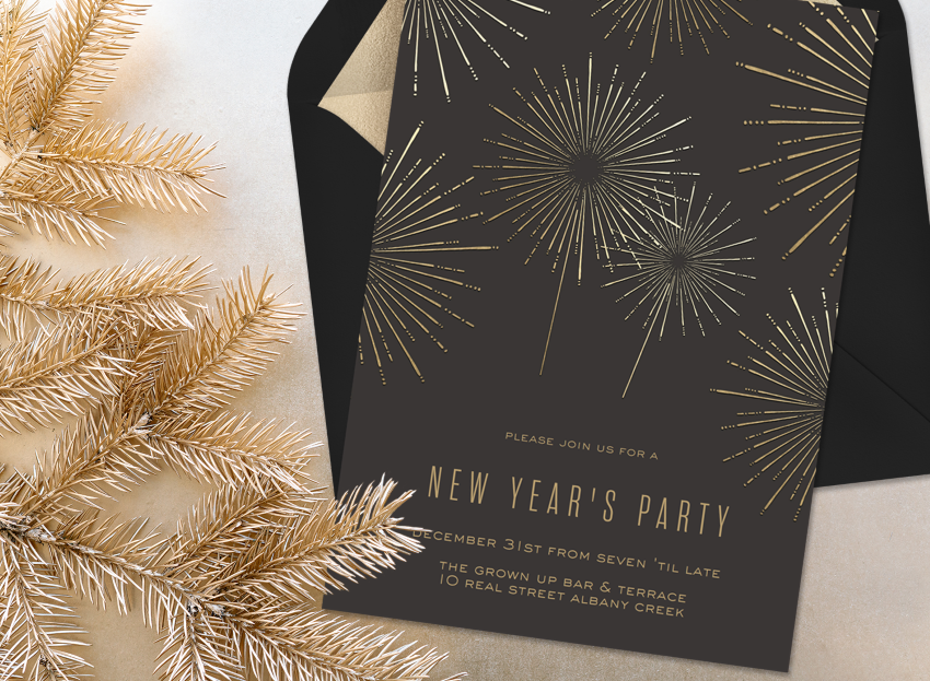 Black and gold New Years Eve party invitation from Greenvelope