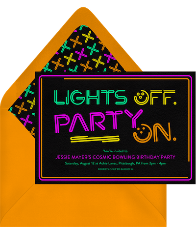 Adult party ideas: Bowling night invitation