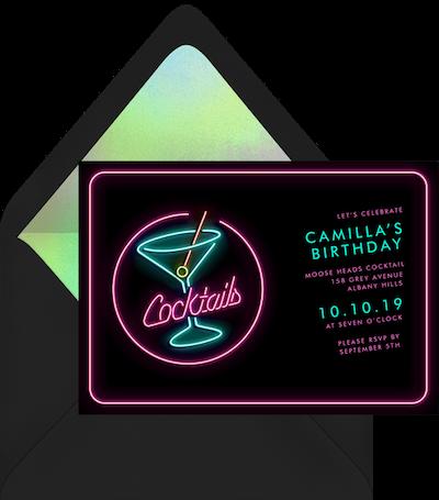 Brightly colored cocktails invitation