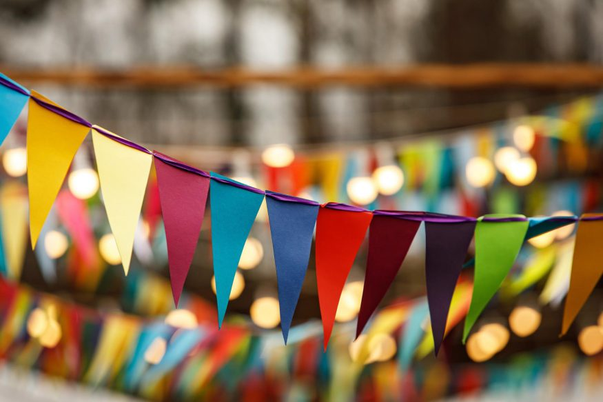 carnival theme party: Close up shot of colorful bunting