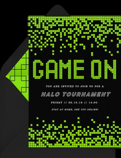 Virtual game night: Video game invitation