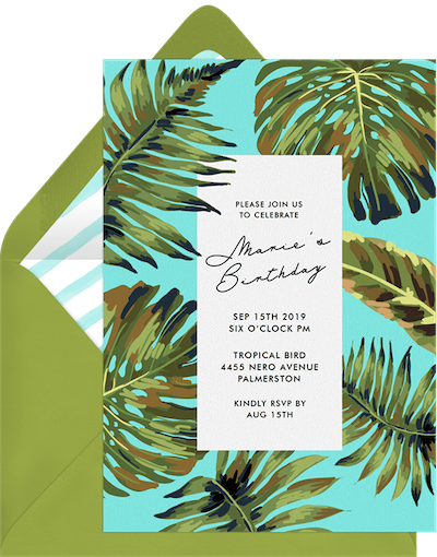 Palm leaves invitation