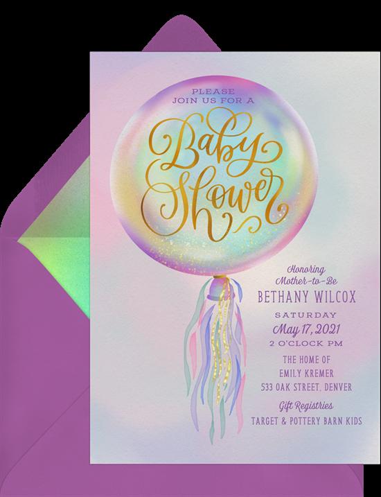 baby shower themes: Iridescent Balloon Invitation by Greenvelope