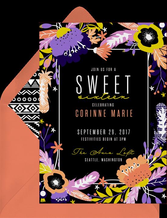 sweet 16 party ideas: Boho Birthday Invitation by Greenvelope