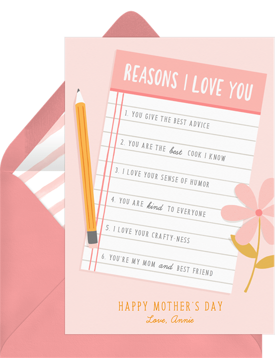 Mother's Day card ideas: The Reasons Why Card