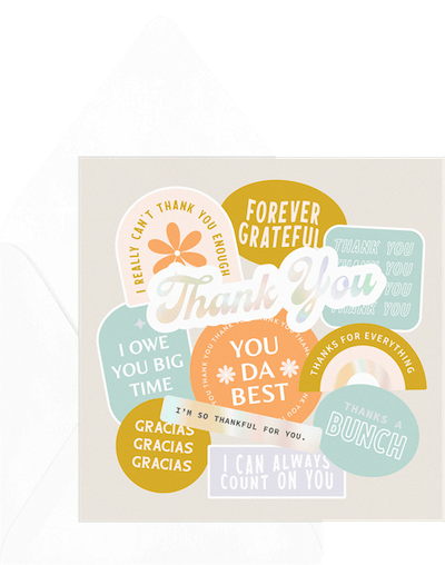 how to write a thank you card: card with different thank you messages