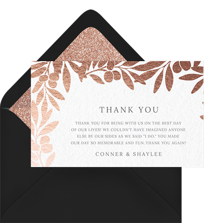 Thank You Card for a Bridal Shower or Wedding