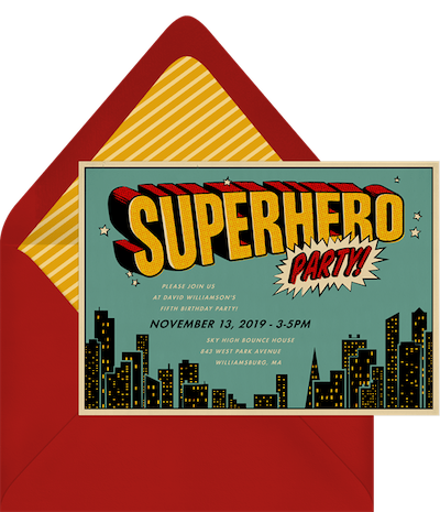 Party theme ideas: Superhero party invitation