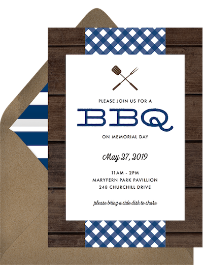 Memorial Day BBQ themed invitation