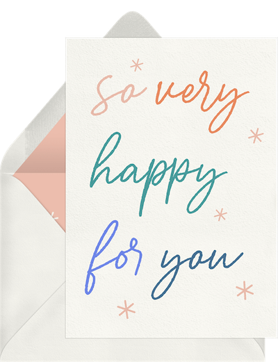So Very Happy For You card