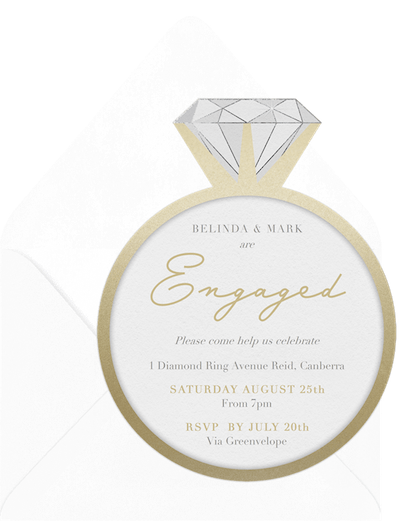 diamond ring themed engagement party card invitation