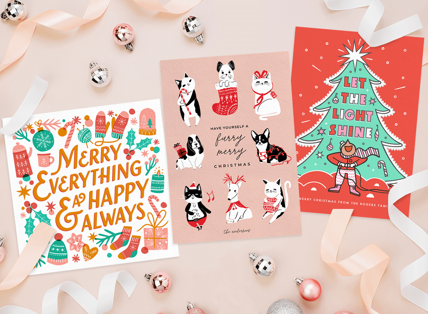 Christmas card wording: Three Christmas cards